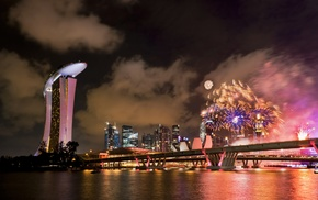 reflection, Singapore, water, photography, lights, fireworks