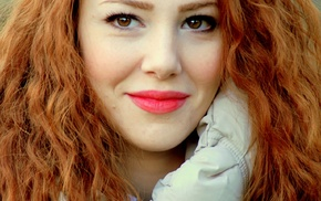 lips, elcin sangu, redhead