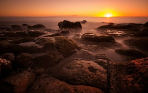 rock, stones, sunset, water, photography, nature