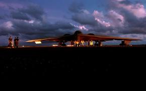 strategic bomber, Northrop Grumman B, 2 Spirit, military aircraft, Bomber, sunset