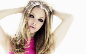 celebrity, actress, looking at viewer, Amanda Seyfried, blonde, hands on head