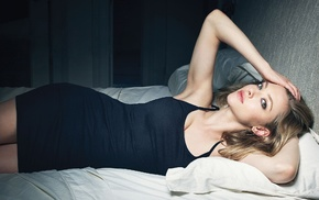 in bed, blonde, black dress, dress, hands on head, Amanda Seyfried