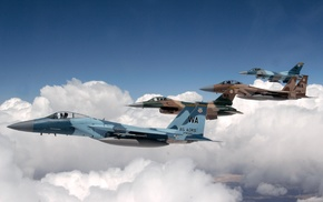 aircraft, military aircraft, McDonnell Douglas F, 15 Eagle, General Dynamics F, 16 Fighting Falcon