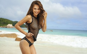 girl, beach, Xenia Deli, strategic covering, smiling, swimwear