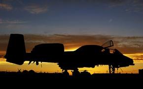 aircraft, silhouette, sunset, military aircraft, Fairchild A, 10 Thunderbolt II