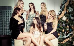 smiling, group of girl, Christmas Tree, model, brunette, dress