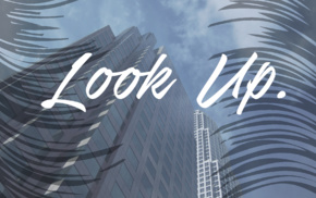 skyscraper, text, landscape, IT design, clouds