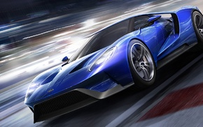 car, motion blur, race tracks, video games, Forza Motorsport 6, Ford GT