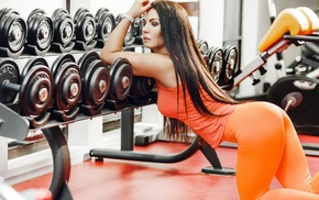 looking away, dumbbells, model, gyms, girl, T