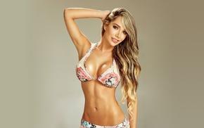 bikini, girl, model, blonde, simple background, Daniela Gutierrez