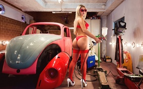 blonde, red lingerie, car, sunglasses, looking at viewer, ass