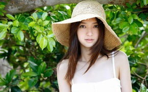 hat, brunette, girl, brown eyes, Asian, Rina Aizawa