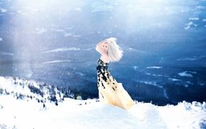 girl, landscape, snow, model, fantasy art, girl outdoors