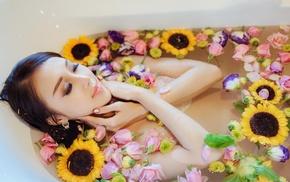 girl, flowers, bathtub, model, Asian, closed eyes