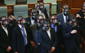 suits, Kosovo, gas masks, politics