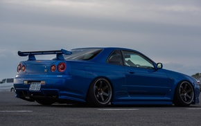 vehicle, blue cars, Skyline R34, Nissan Skyline, Nissan, Nissan Skyline GT