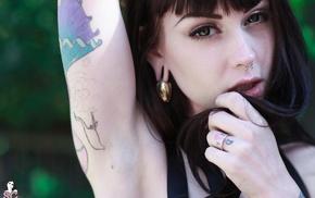 pierced septum, looking at viewer, Suicide Girls, brunette, Arwen Suicide, tattoo