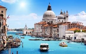 building, Venice, water, boat, house, landscape