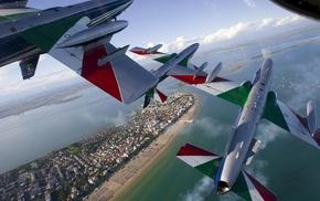 landscape, water, Italy, Frecce Tricolori, air force