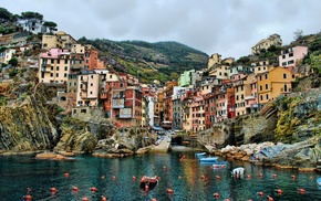 Italy, city, house, landscape, water, building