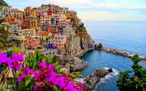 city, Italy, colorful, landscape, water, Manarola