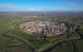 aerial view, building, Italy, city, landscape, house