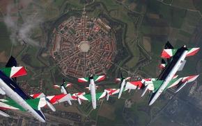 Frecce Tricolori, city, air force, house, Palmanova, Italy