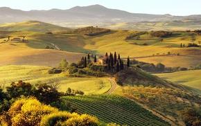 house, nature, Italy, Tuscany, green, landscape
