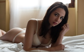 in bed, white panties, lingerie, brunette, girl, small boobs