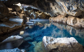 lake, nature, cave