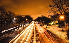 night, lights, highway, trees, city, long exposure