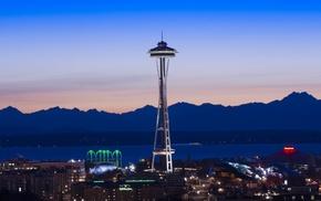Seattle, city, mountains, dusk, Space Needle, urban