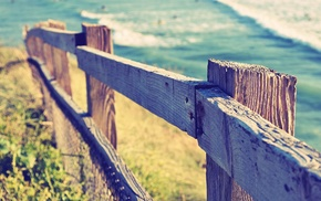 depth of field, fence, grass, coast, water, sea