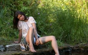 model, girl, barefoot, girl outdoors, Audrey, Audrey Pankovna