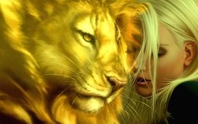 lion, artwork, girl, closed eyes