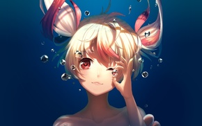 red eyes, underwater, original characters, anime girls