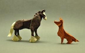 artwork, origami, depth of field, horse, animals, simple background