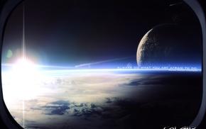 space art, sky, digital art, Sun, landscape, space