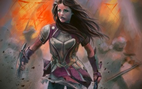 girl with swords, brunette, Lady Sif, armor, artwork, sword
