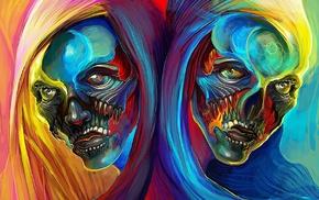 artwork, fantasy art, skull