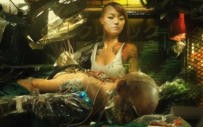 girl, cyberpunk, robot, artwork, futuristic, science fiction