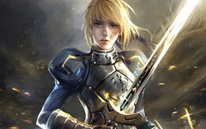 FateStay Night Unlimited Blade Works, warrior, blonde, fantasy art, girl, Saber