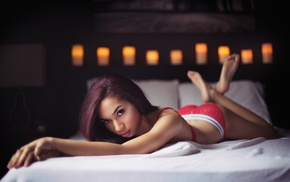 bed, looking at viewer, ass, red lingerie, in bed, legs up