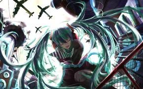 Hatsune Miku, twintails, Vocaloid, closed eyes