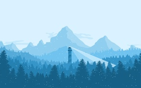 winter, blue, mountains, lighthouse
