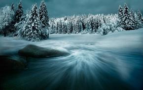 winter, landscape, seasons, snow, trees