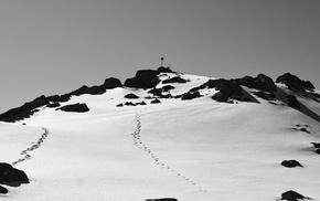 rock, Norway, mountains, monochrome, snow