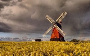 Denmark, windmill, clouds, grain