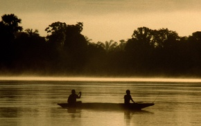 silhouette, river, jungle, canoes