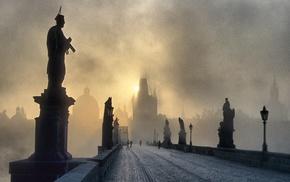 statue, Charles Bridge, bridge, Czech Republic, Prague, mist